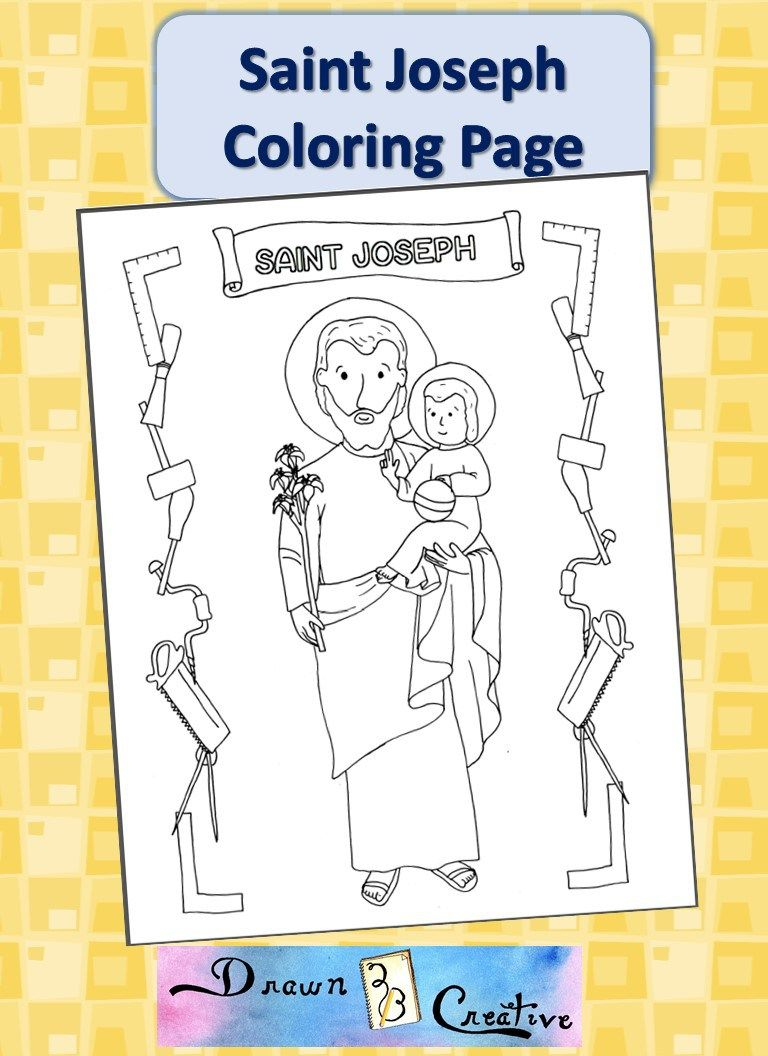 Free Printables Drawn2bcreative Coloring Pages St Joseph Catholic Coloring