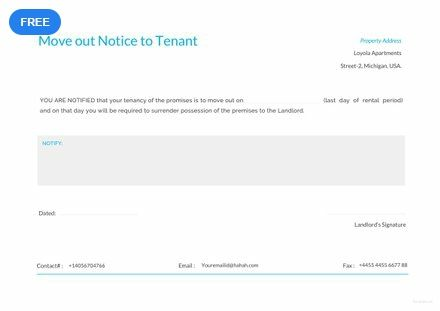 free move out notice to tenant notice templates designs 2019