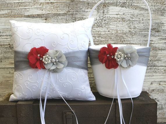 Your Color , Ring Bearer Pillow , Gray and Red Flower Girl Basket ,Ivory / White Flower Girl Basket and Ring Bearer Pillow Set