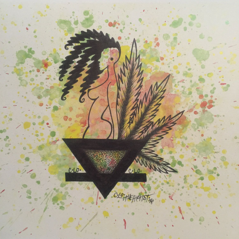 Etsy Art Earth Women Weed Prints Abstract Splatter Watercolor Tribal Art