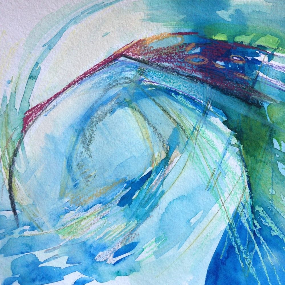 """""""Mystic Barrel"""" water wave painting 9 x 12"""