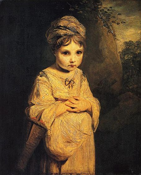 A Strawberry Girl, 1773, by Joshua Reynolds. There is something so poignant in this sad little face that it breaks my heart!