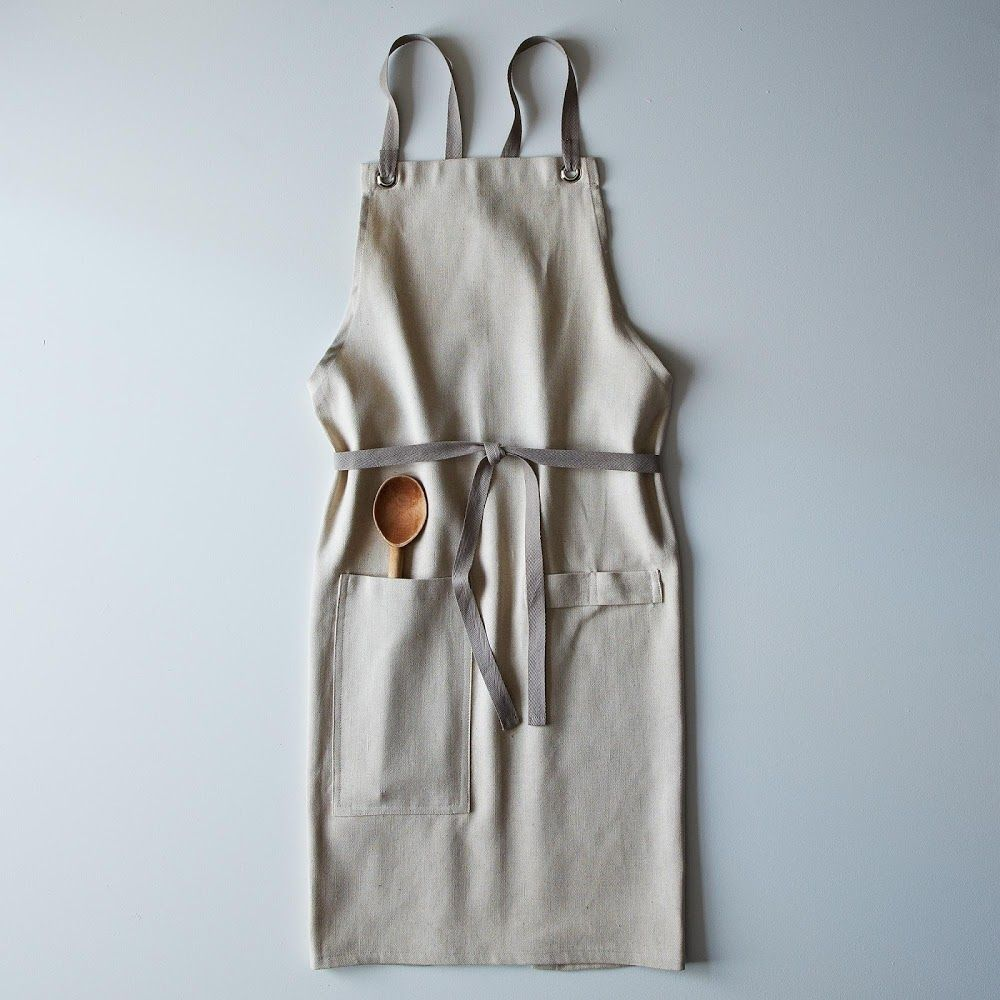 Cross-Back Linen Kitchen Apron with Slate Ties   PRODUCTS ...