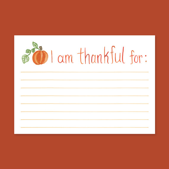 I Am Thankful For Cards Thanksgiving Cards Thankful For Fill In The Blank Giving Thanks Cards Thanksgiving Pumpkin Cards By Leveret Paperie