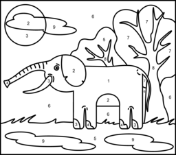Elephant - Printable Color by Number Page  Animal coloring pages