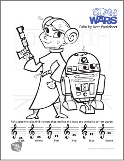 Star Wars (John Williams) Free Treble Clef Color-by-Note