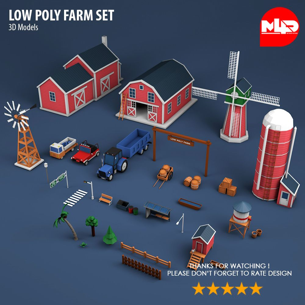 Low Poly Farm Set Low poly, Poly, Travel brochure template