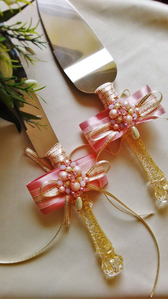 Gold Wedding Cake Server Set Knife Cutting Servers Rose
