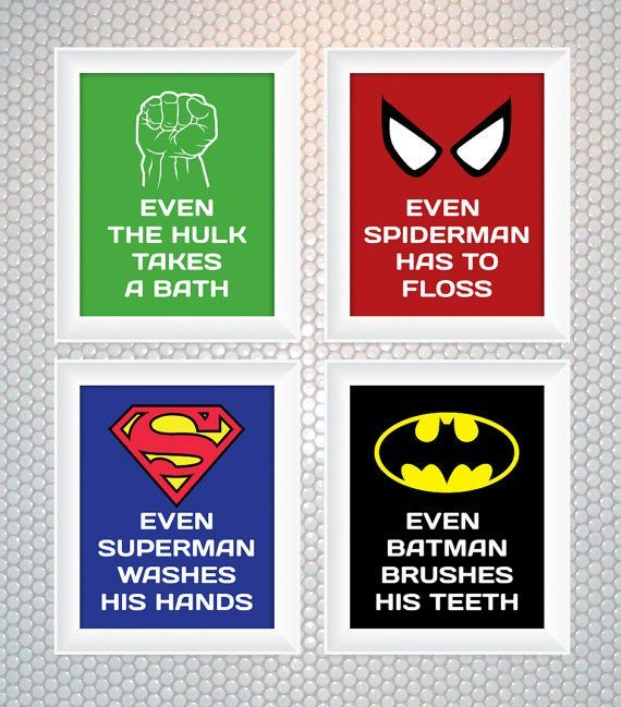 superhero bathroom sets superhero reminder bathroom art set of 4 rh pinterest com
