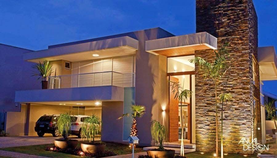 Pin de val ria matarelli pereira calijorne em fachadas for Fachadas de casas modernas 1 pavimento