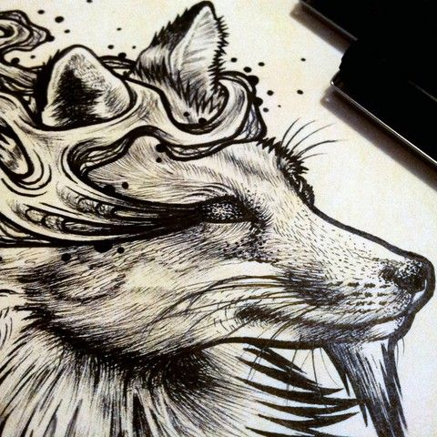 """Woot! I got a variant print, """"Cunning [Sketch]"""", from Bestial Spirits by Mat Miller on @NeonMob - Check it out!"""