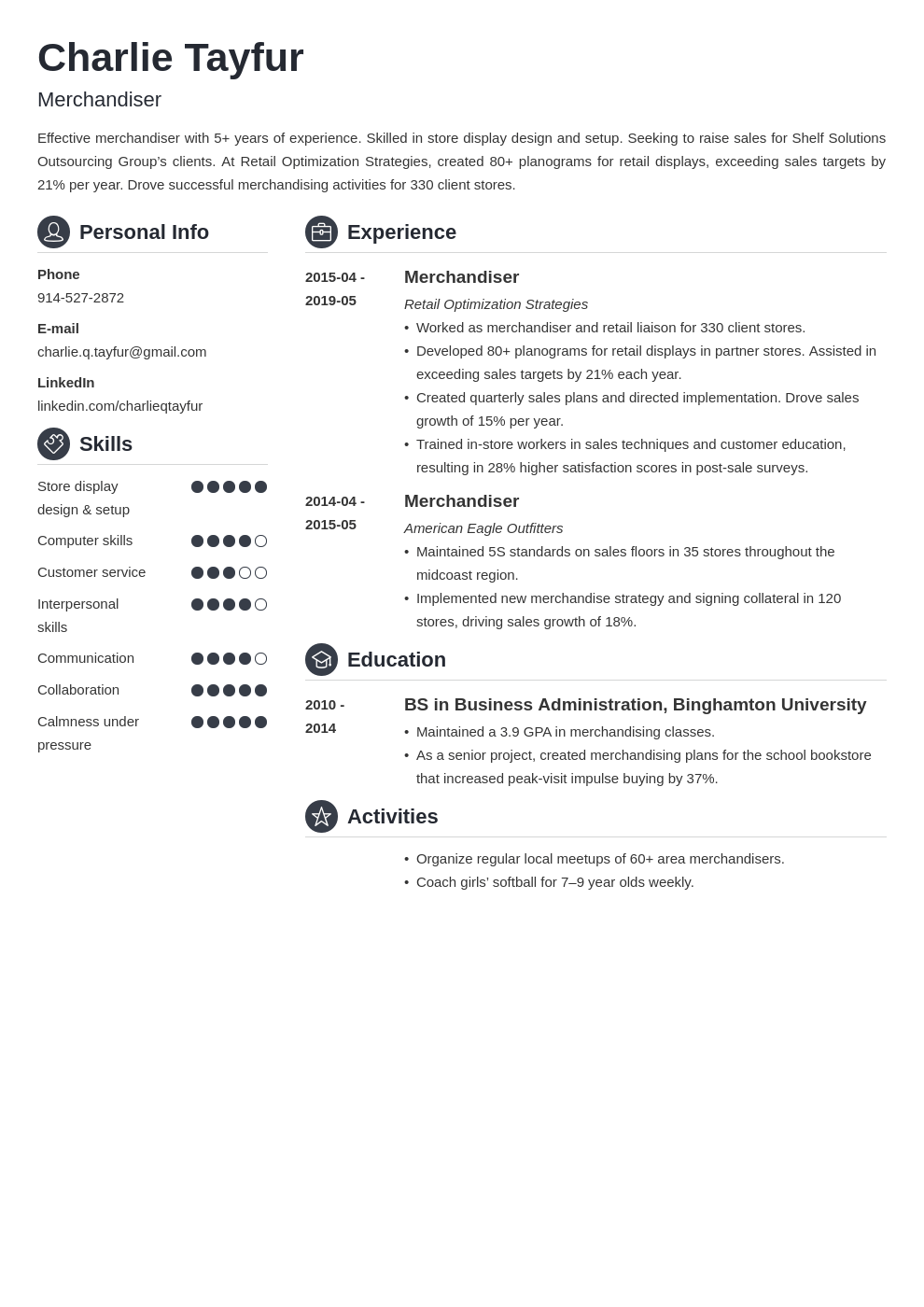 merchandiser resume example template crisp in 2020