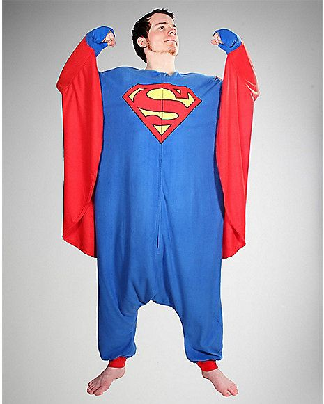 12.97- Superman Kigurumi Caped Sleeves Pajamas - Spencer s ... 6f0aae0627d6f