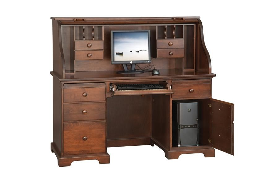 amish 58 computer roll top desk in 2019 home office ideas desk rh pinterest com