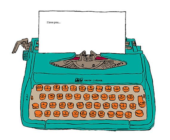 Greeting card birthday typewriter writer green orange colourful items similar to greeting card birthday typewriter writer green orange colourful thank you i love you thinking of you on etsy m4hsunfo