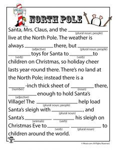 Christmas mad libs north pole mad and kid activities north pole mad lib spiritdancerdesigns Gallery