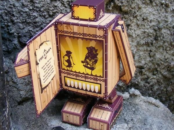 "TDDK Robot Shadow Puppet Theater Paper Toy - by Salazad - == -  This cool paper toy was created by Indonesian designer Salazad. - ""Wayang is a generic term denoting traditional theatre in Indonesia."