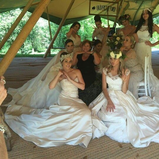 Designer fun Tammie Nitschke at Maleny Manor with gorgeous models featuring 2016 collection for Elizabeth de Varga Couture Bridal ♡