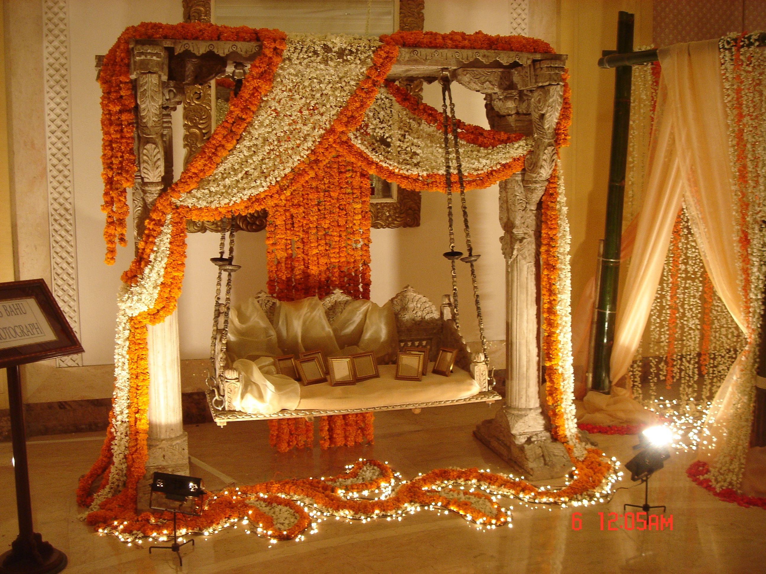 wedding stage decoration pics%0A white and orange jhoola