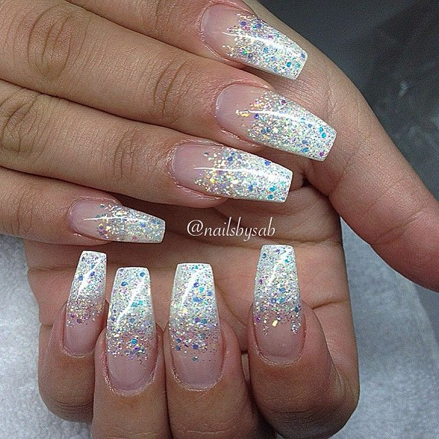 Glitter Tip Long Coffin Nails Long Nails Make Your Fingers Look