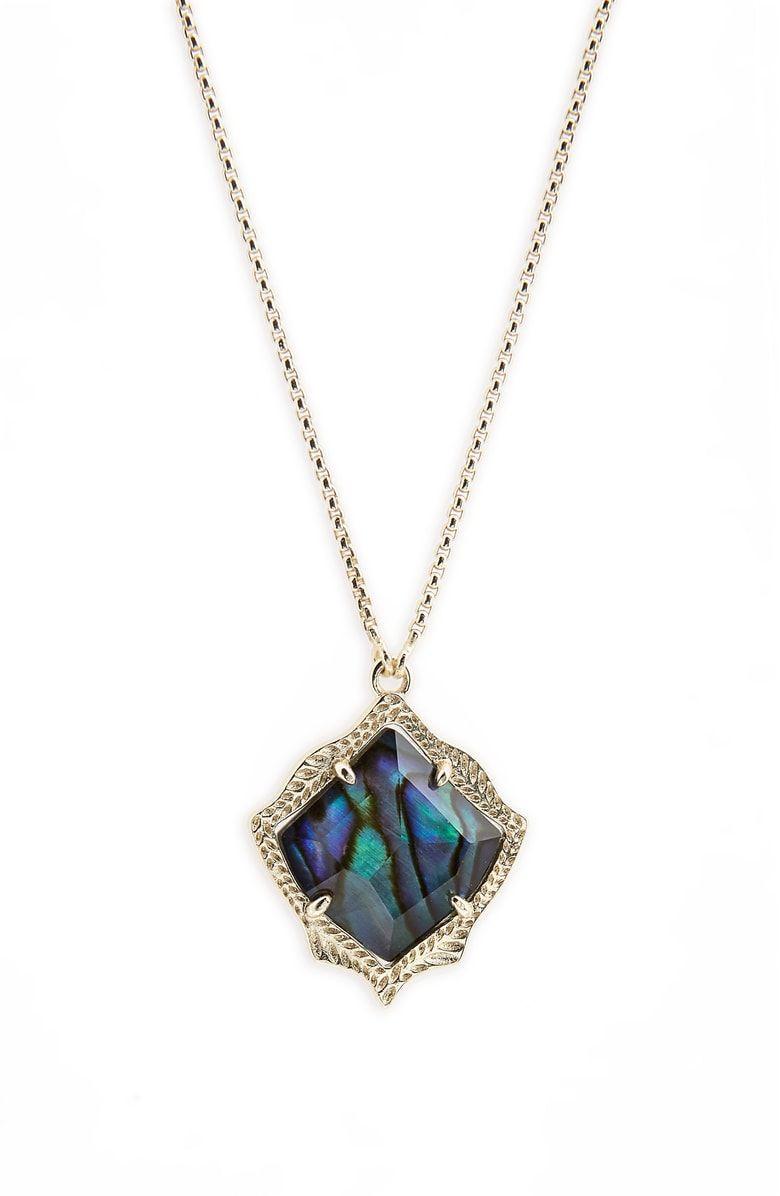 Kendra Scott Womens Kacey Necklace Gold//Abalone Shell One Size