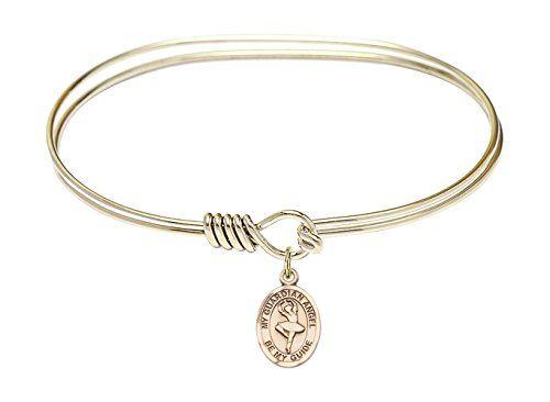 5 3//4 inch Oval Eye Hook Bangle Bracelet with a Guardian Angel charm.