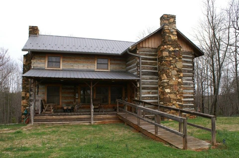 Nice handicap ramp for this log home