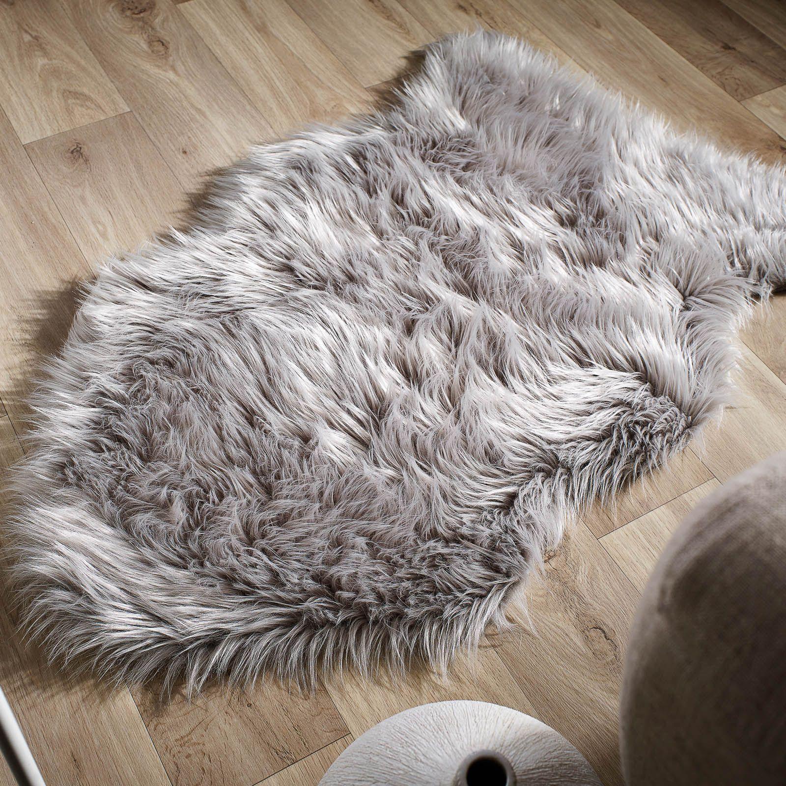 Faux Fur Rugs In Grey60x90cm 3 0 X2