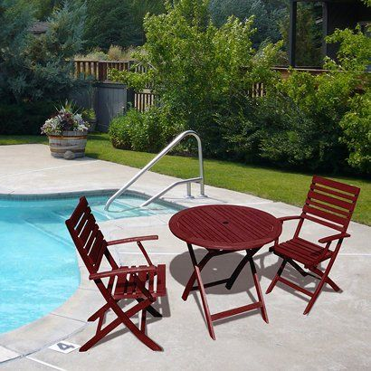 3 piece fsc certified wood round folding patio bistro furniture set rh pinterest com