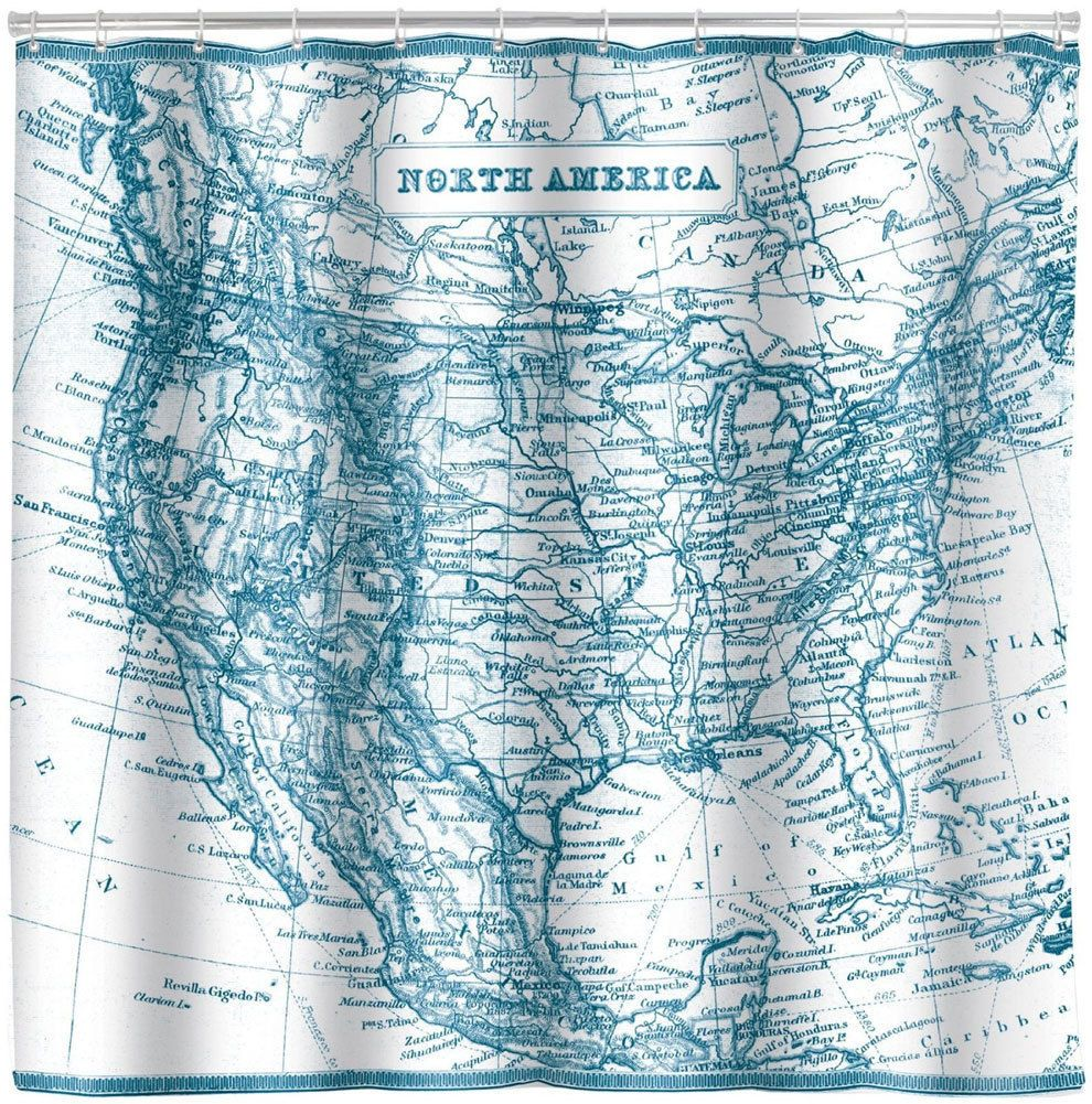 North America Vintage Map Shower Curtain Old United States 72