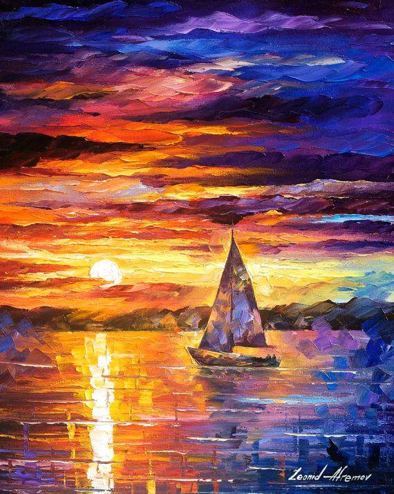 Little boat palette knife modern impressionist art - Meilleure marque peinture ...
