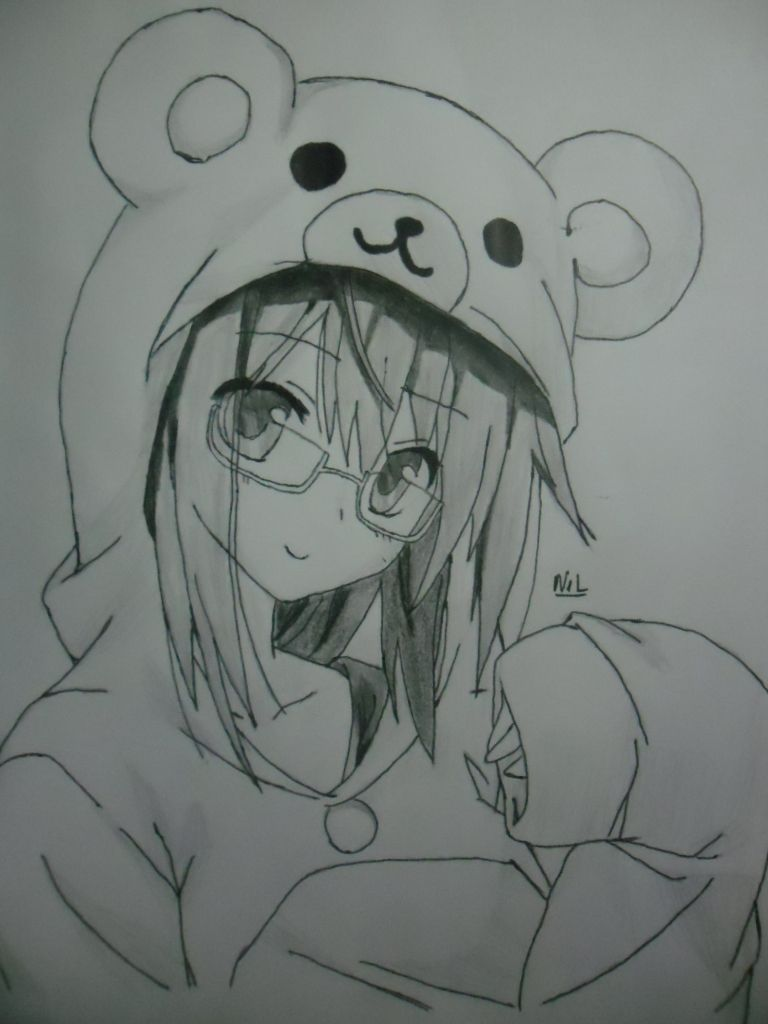 Anime art ✮ anime girl teddy bear hoodie sweater rilakkuma glasses pencil drawing graphite doodle cute kawaii