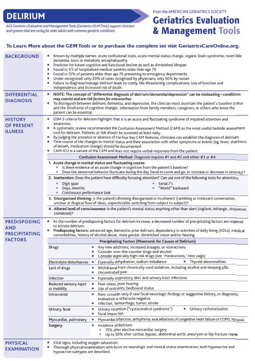 This Clinical Tip Sheet From The Ags Series Of Geriatrics Evaluation And Management Tools Focuses On Delirium In Olde Geriatrics Geriatric Nursing Nursing Tips