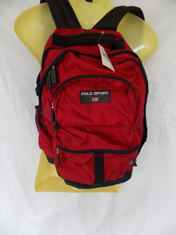 8ed166e54 Polo Sport Ralph Lauren Red Backpack Multi Pockets Headphone Travel Bag  Nylon #PoloSport #Backpack