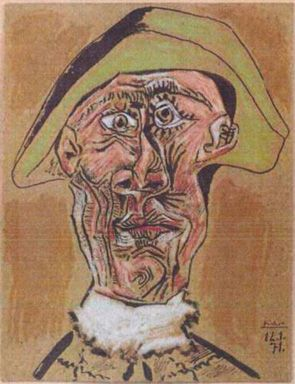 The 1971 painting 'Harlequin Head' by Pablo Picasso.
