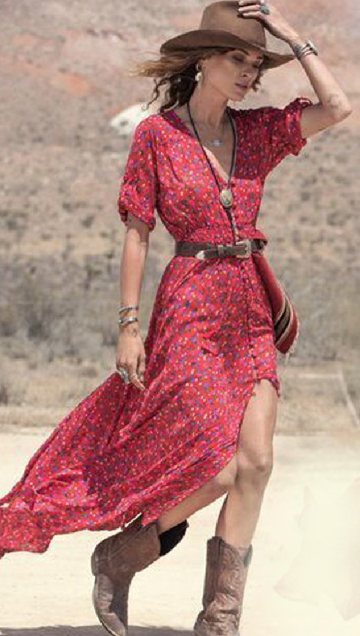 Red Floral Split Buttoned Maxi Dress | Hippies, Vaqueros y Varios