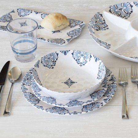 better homes gardens 12 piece summer melamine dinnerware set rh pinterest ie