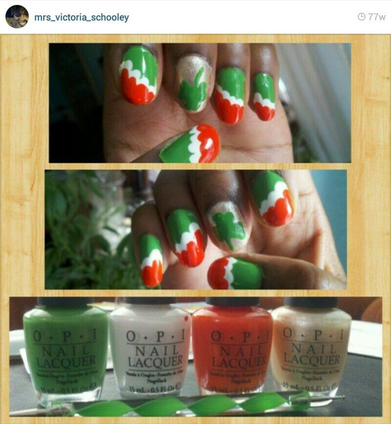 A second St. Patrick\'s day nails manicure...Irish flag colors ...