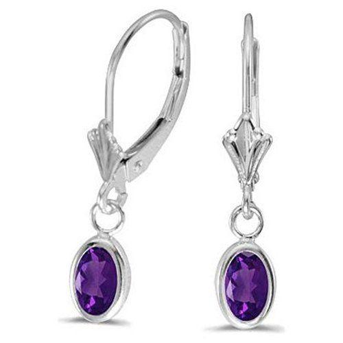 Fine Jewelry Oval Genuine Amethyst 14K White Gold Leverback Earrings ullsOYSQz