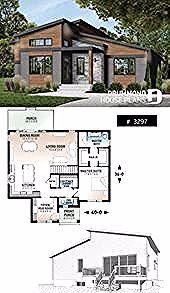 Photo of 1 bedroom modern mid-century house plan with open floor plan, economical home, u…