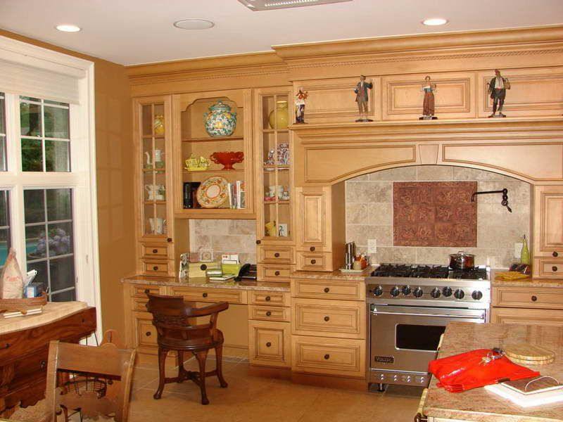 Kitchen Cabinet, Traditional Extra Tall Oak Wood Kitchen ...
