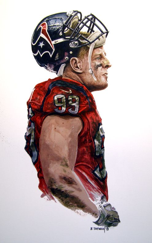 Jj Watt 8 X 16 Watercolor On Arches 140 Lb Paper Houston Texans Football Texans Football Nfl Football Art