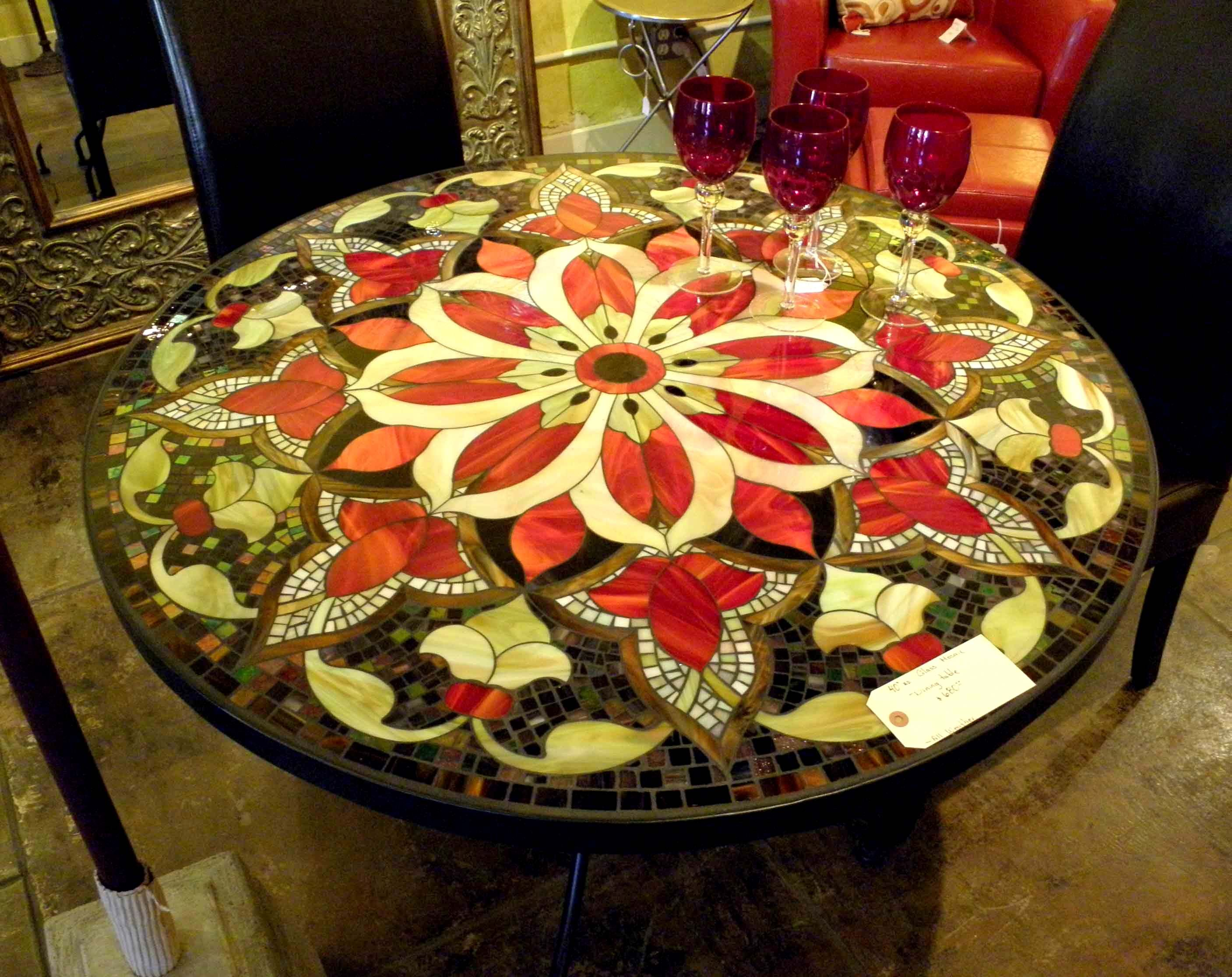 Gentil Mosaic Table | 30 Round Glass Mosaic Table Ultima Design We Made For The  Hollywood .