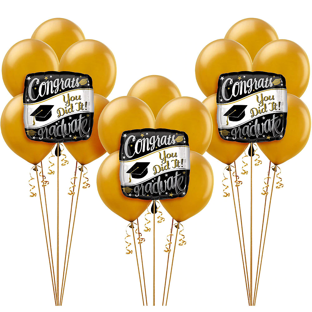 Black, White & Gold Congrats Graduate Balloon Kit