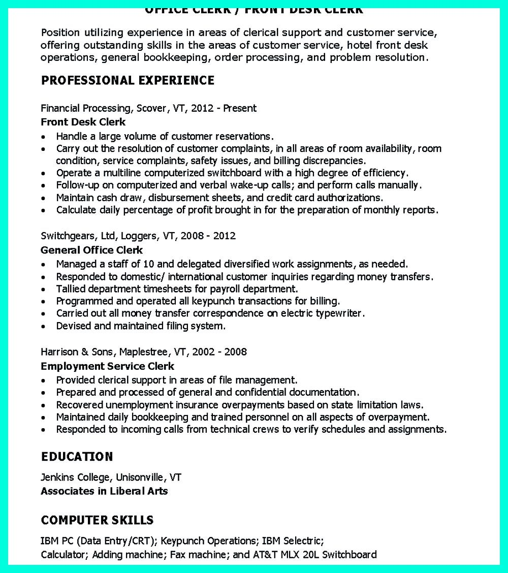 Front Desk Resume Sample Clerical Resume Sample Provides Your Chronological Order Of