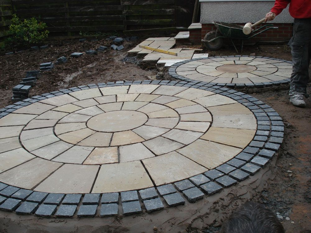Stone circle paving google search garden ideas for Garden designs with stone circles
