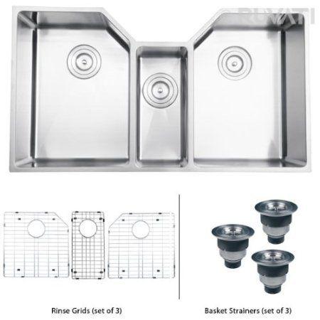 swanstone kstb 4422 010 44 inch by 22 inch triple bowl kitchen sink rh pinterest com