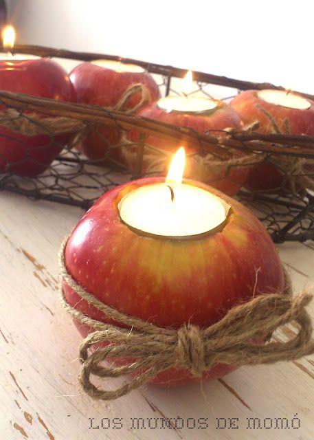 Vela con manzana diy manualidades navidad decoration - Centros de mesa navidad ...