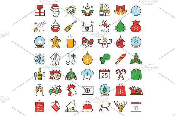 Christmas Iconography.Christmas And New Year Icons Vector Creativework247 Icon