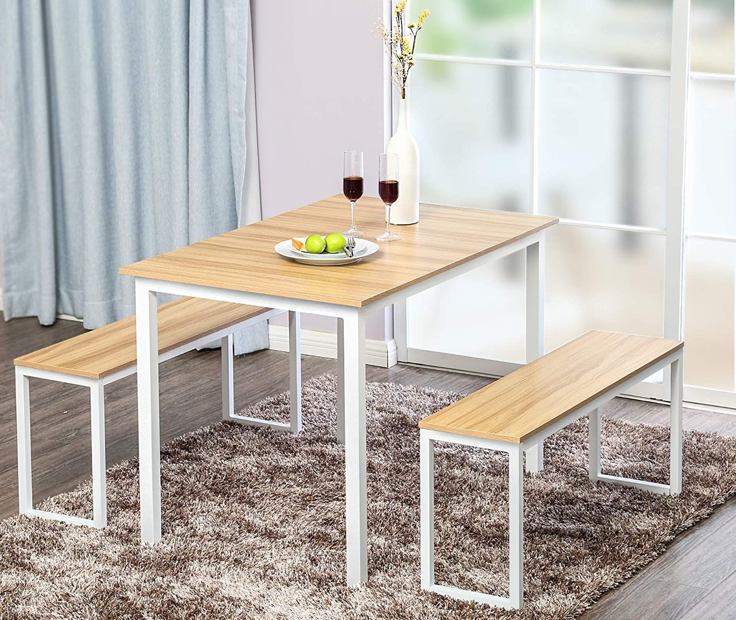 Fitueyes 3 Piece Dining Table Set With 2 Benches White Walmart Com In 2020 Nook Dining Set Dining Table Setting Dining Table With Bench
